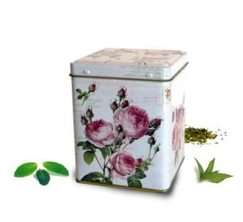Boite carré rose pour le thé - 100g